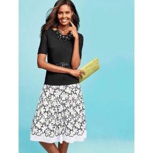 NWT Talbots Black & White Daisy A-Line Skirt Sz 16